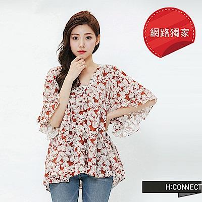 H:CONNECT 韓國品牌 女裝-度假感印花綁結上衣-棕