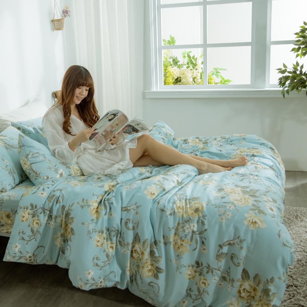 AmissU 頂級60支新疆長絨棉雙人加大床包被套四件組 花戀寄情