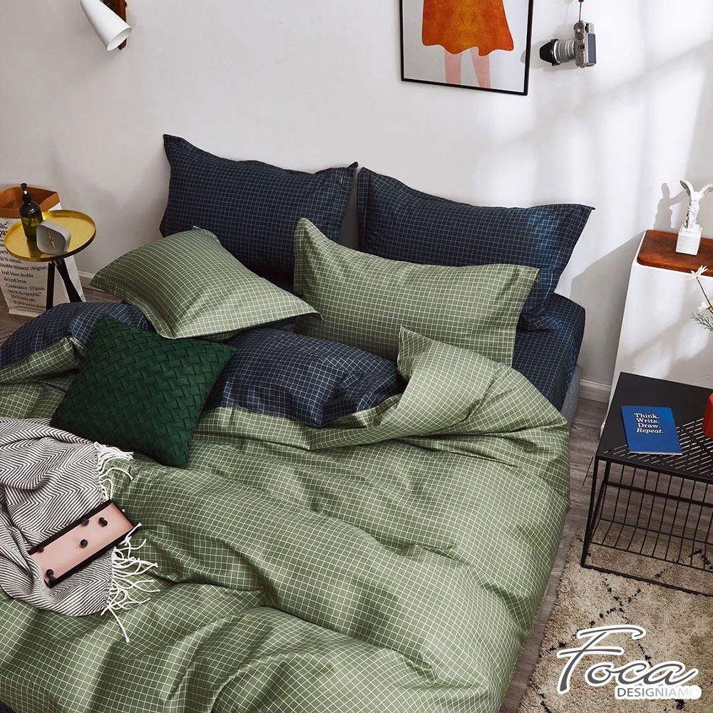 FOCA極致真理 單人-韓風設計100%精梳純棉二件式薄枕套床包組