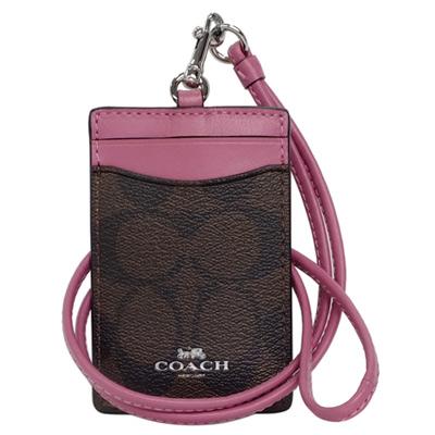 COACH深咖啡C Logo拼接乾燥紫真皮掛式證件票卡夾