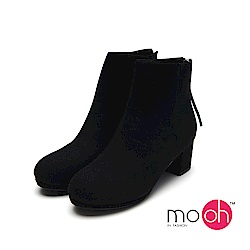mo.oh-粗跟絨面圓頭拉鏈短靴-黑色