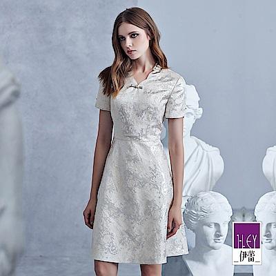 ILEY伊蕾 荷葉旗袍領銀蔥緹花洋裝(銀)