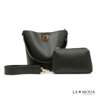 La Moda 時尚品牌感粗帶大容量肩背斜背子母包(黑)