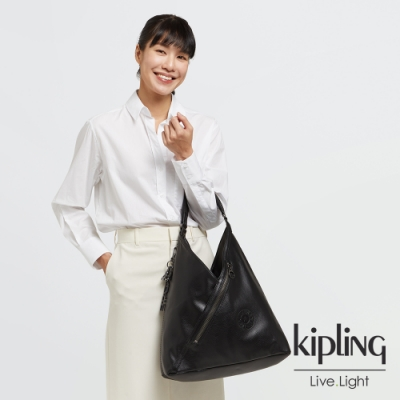 Kipling 內斂純粹黑質感時尚流蘇肩背托特包-OLINA