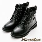 River&Moon復古率性皮扣綁帶牛津短靴-黑