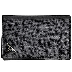 PRADA SAFFIANO 立體三角LOGO防刮皮革卡片夾(黑色)