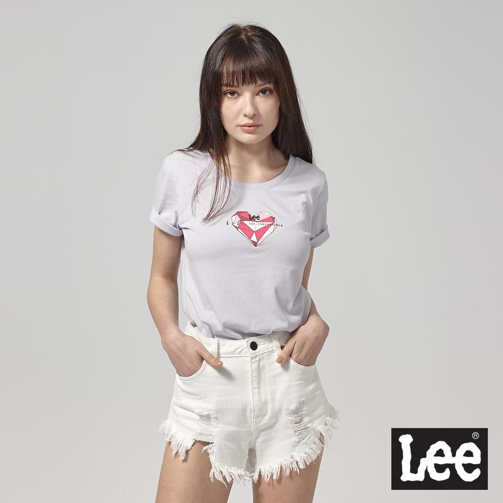 Lee短袖T恤 鑽石切割圖案-紫-女