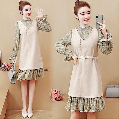 DABI 韓國風淑女針織拼接雪紡碎花荷葉袖長袖洋裝