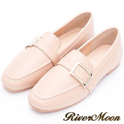 River&Moon質感方金釦平底樂福紳士鞋-裸膚粉