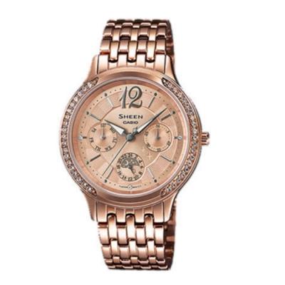 CASIO卡西歐 浪漫優雅施華洛世奇女腕錶(SHE-3030PG-9A)-玫瑰金x37mm