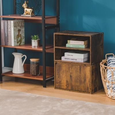 樂嫚妮 二層收納櫃/空櫃/書櫃/門櫃-層板可抽-仿木色2入組