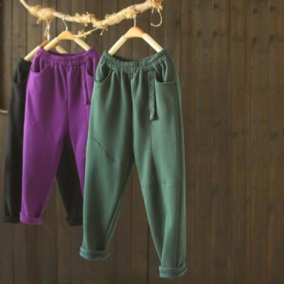 側門襟棉質寬鬆加絨衛褲鬆緊腰顯瘦長褲-設計所在