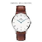 DW 手錶 官方旗艦店 38mm銀框 Dapper 棕色真皮皮革錶