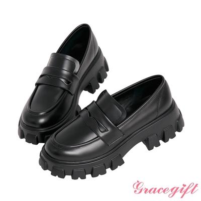 Grace gift-便仕輕量鋸齒厚底樂福鞋 黑他料