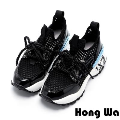 Hong Wa 時尚拼接牛麂皮潑漆厚底綁帶老爹鞋 - 黑