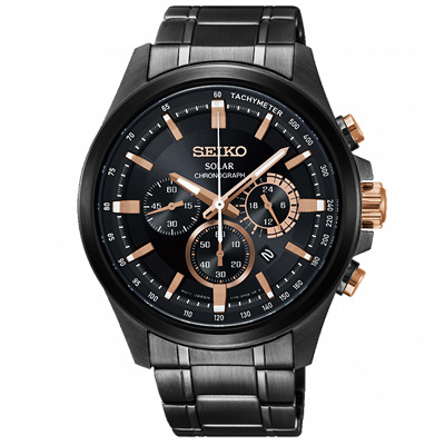 SEIKO 精工Criteria太陽能計時手錶SSC695P1-黑X玫瑰金/42.8mm