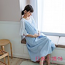 日系小媽咪孕婦裝-顯瘦修身直條紋肩可調吊帶洋裝 (共二色)