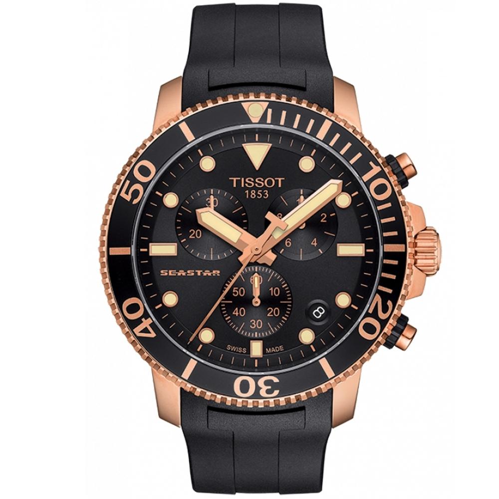 TISSOT天梭 Seastar海洋之星300米潛水計時錶(T1204173705100)