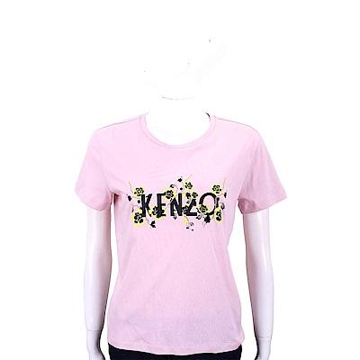 KENZO 花卉藤蔓字母粉色棉質短袖T恤