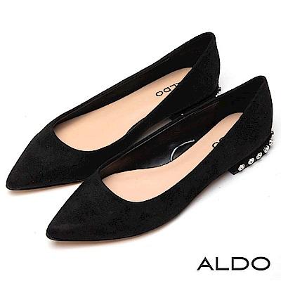 ALDO 原色都會圓角鑲嵌璀璨金屬圓鑽尖頭粗跟鞋~尊爵黑色