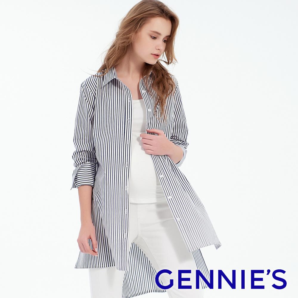 Gennies專櫃-直條紋前短後長顯瘦上衣-深藍條紋(T3F07)
