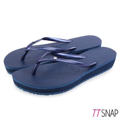 TTSNAP拖鞋-MIT時尚水鑽夾腳厚底涼拖 藍