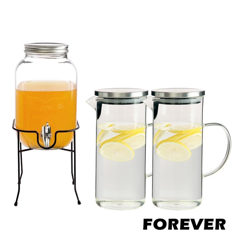 日本FOREVER 夏天必備派對玻璃果汁飲料桶(含桶架)4L贈玻璃水壺1L(手柄圓型)2入