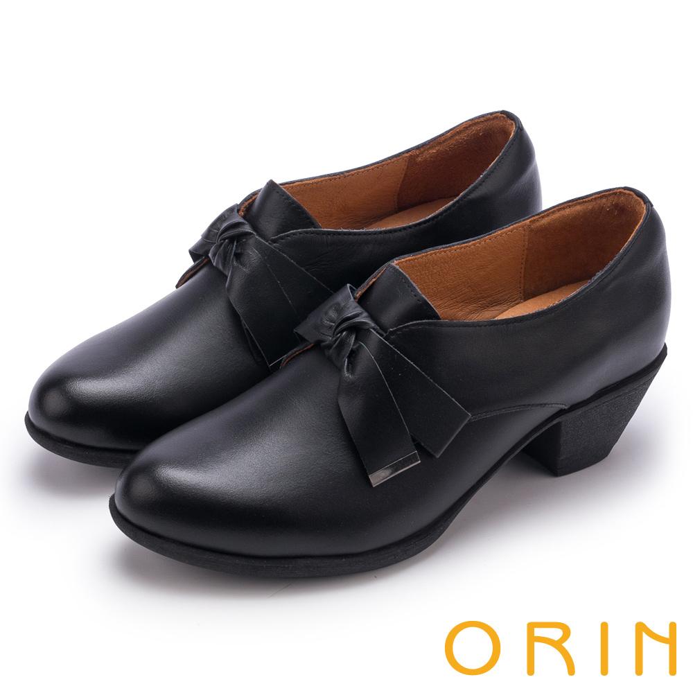 ORIN 復古甜心 蠟感牛皮蝴蝶結粗跟牛津鞋-黑色