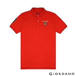 GIORDANO 男裝麋鹿漸層刺繡短袖POLO衫-22 火烈鳥紅