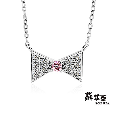 蘇菲亞SOPHIA - 輕珠寶系列俏皮蝴蝶結0.10克拉鑽石套鏈