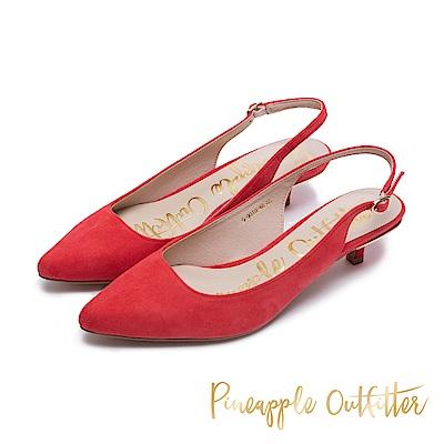 Pineapple Outfitter 完美比例 絨面後繫帶跟鞋-絨紅