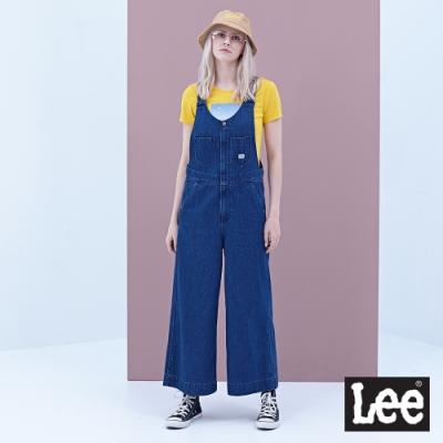 Lee 吊帶牛仔長褲寬褲款 女 中深藍