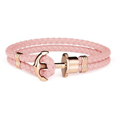 PAUL HEWITT 航海船錨玫瑰金扣皮革繩結手環-粉紅色