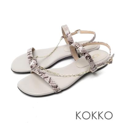 KOKKO柔軟羊皮細鍊線條平底涼鞋蛇紋