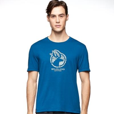 【WILDLAND荒野】男彈性LOGO印花圓領上衣土耳其藍