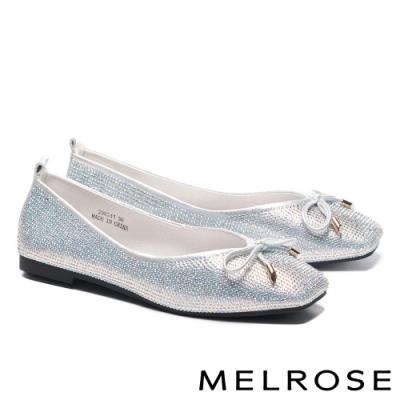 平底鞋 MELROSE 時髦閃耀水鑽蝴蝶結方頭平底鞋-銀