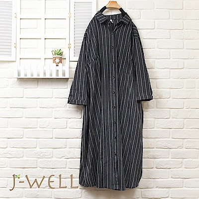 J-WELL 條紋側抽褶長版襯衫(2色)