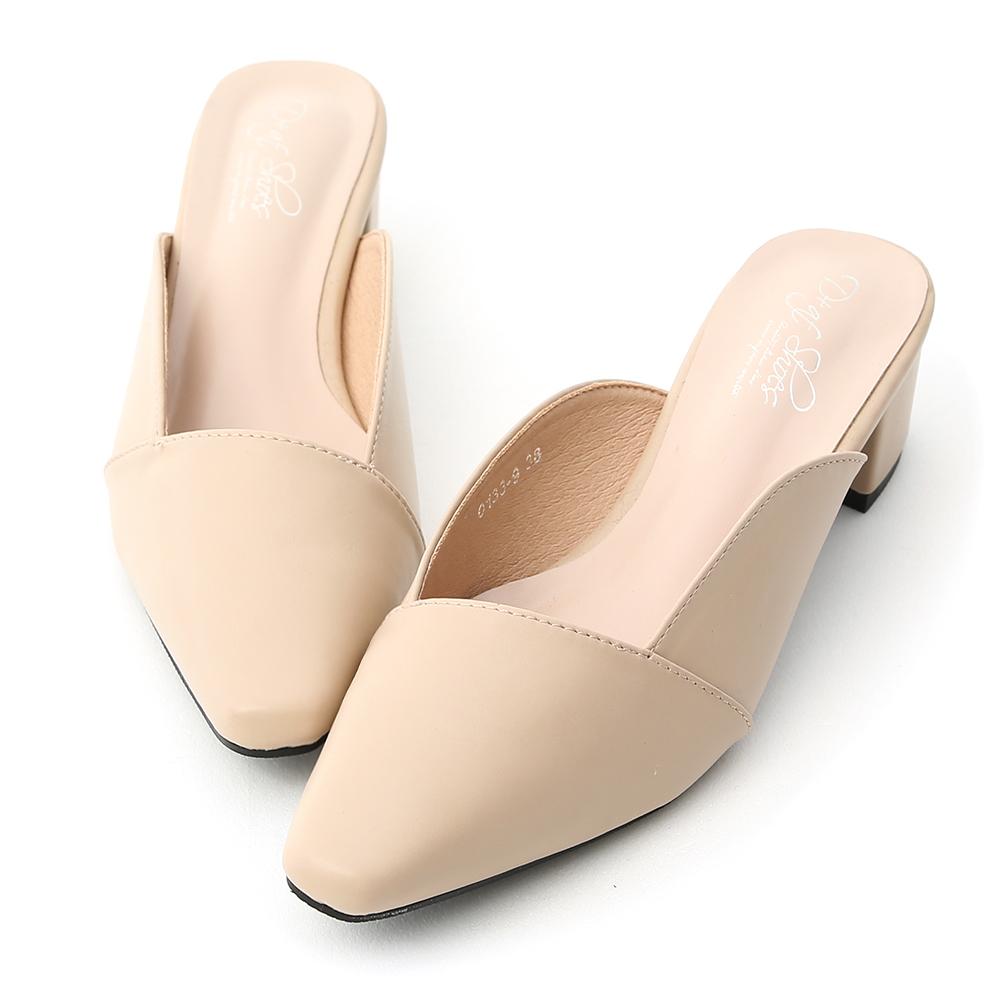 D+AF 優雅品味.質感微方頭中跟穆勒鞋*杏