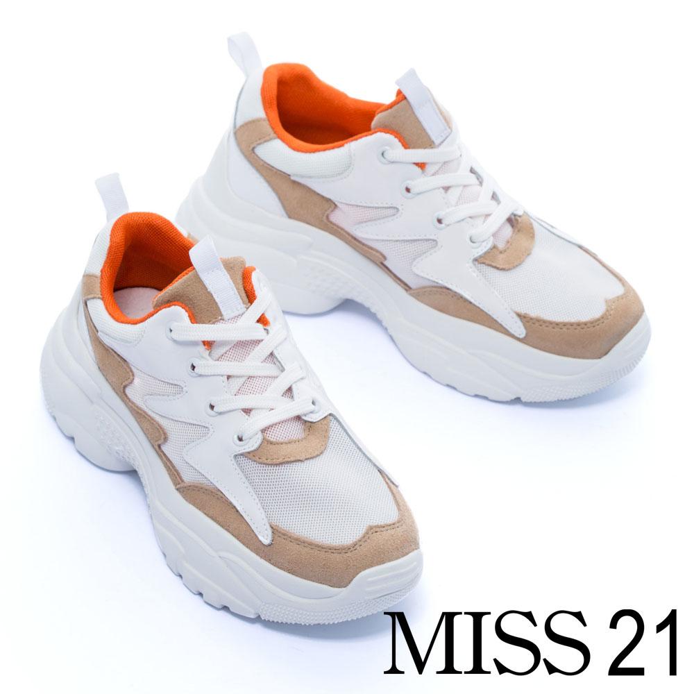 休閒鞋 MISS 21 帥氣品味異材質拼接綁帶厚底休閒鞋-米