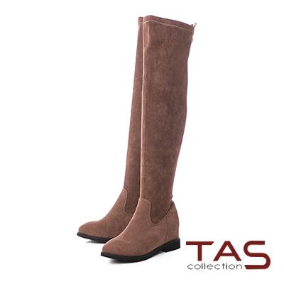 TAS後水鑽皮帶扣素面美腿膝上靴–奶茶卡其