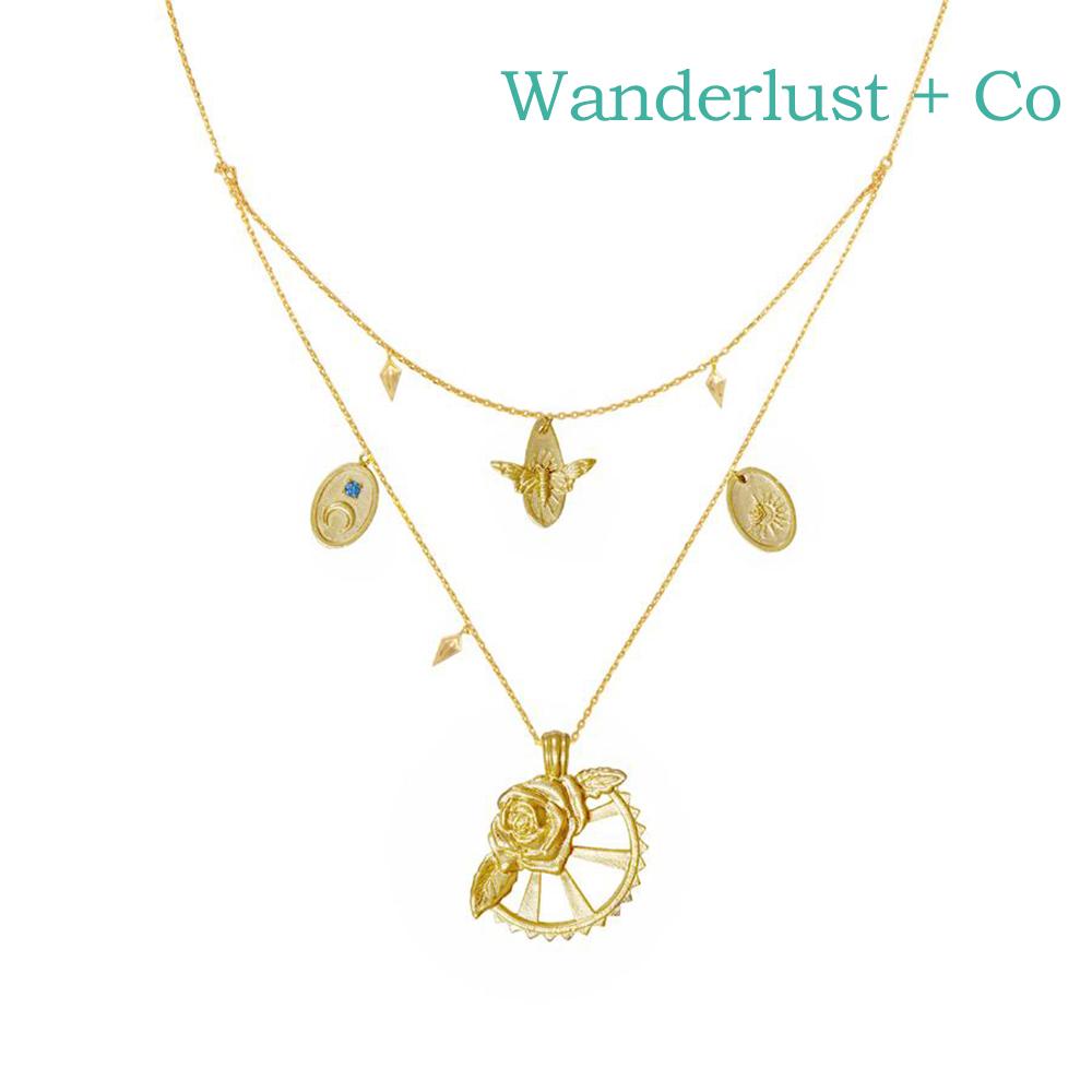 Wanderlust+Co 澳洲時尚品牌 REVERIE玫瑰花園項鍊 金色