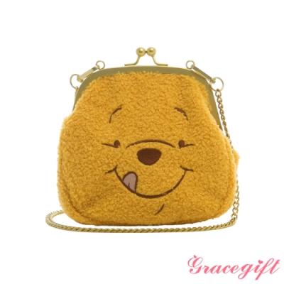 Disney collection by gracegift-迪士尼小熊維尼Q毛口金鍊條包 黃