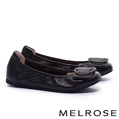 娃娃鞋 MELROSE 內斂知性閃鑽飾舒適全真皮娃娃鞋-黑