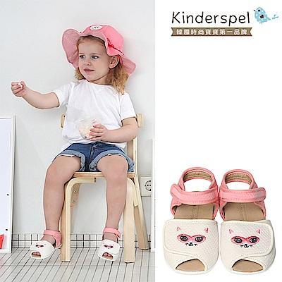 【Kinderspel】超透氣寶寶涼鞋(粉紅貓咪)-(14.5cm)