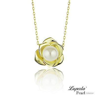大東山珠寶 純銀天然珍珠項鍊 金色玫瑰