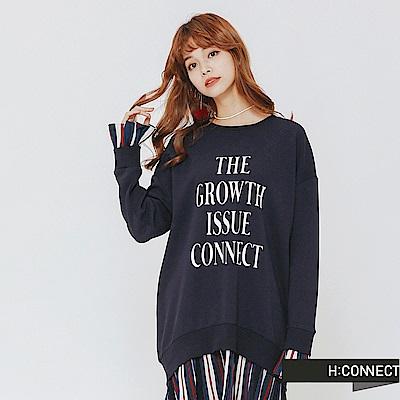 H:CONNECT 韓國品牌 女裝-百摺拼接文字洋裝-藍