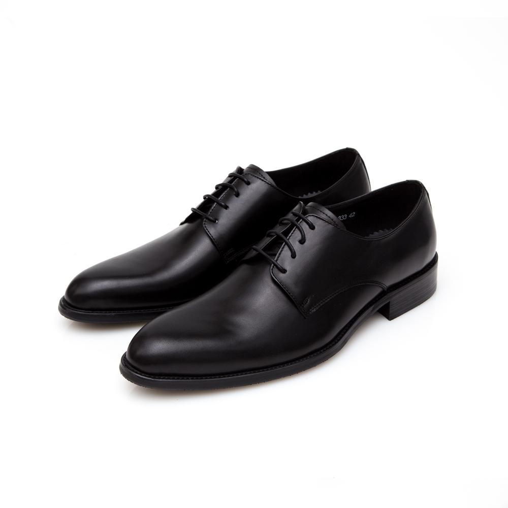 ALLEGREZZA-真皮男鞋-德比狂潮-擦色皮革素面德比鞋 黑