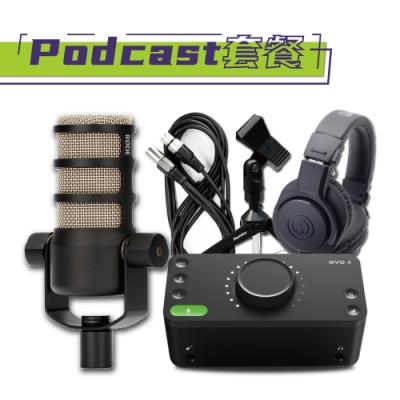 Podcast進階套餐 RODE POD MIC+Evo 4 2in+M20x耳機+MIC架+MIC線