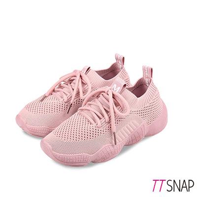 TTSNAP健走鞋-輕量軟Q飛梭織面慢跑休閒鞋 粉