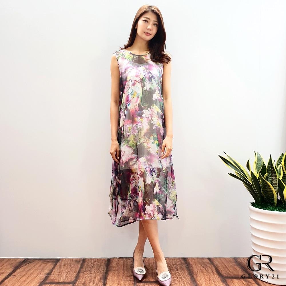 GLORY21 雪紡印花洋裝(附背心)_紫